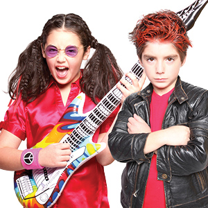 A girl and boy dressed up as rock stars during a Snip-its salon party.