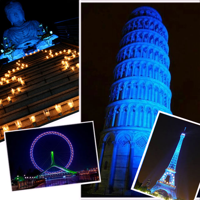Autism Awareness at the Leaning Tower of Pisa, Eiffel Tower, London Eye, Budha