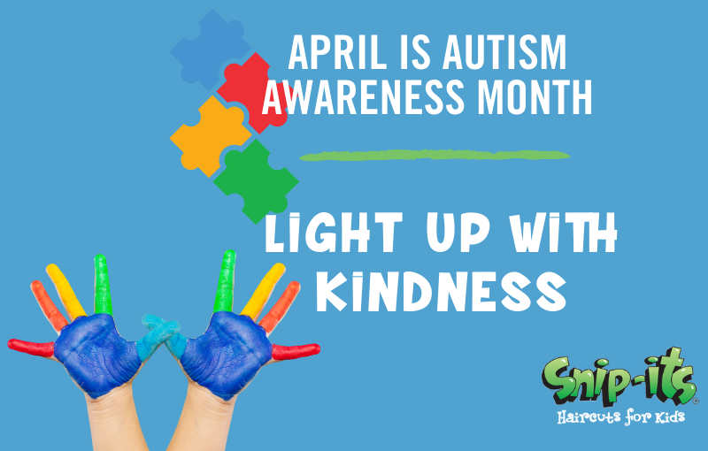 Snip-its lights it up blue in April for Autism Awareness