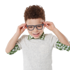 boy with glasses and green checked shirt with fresh new Snip-its hair style