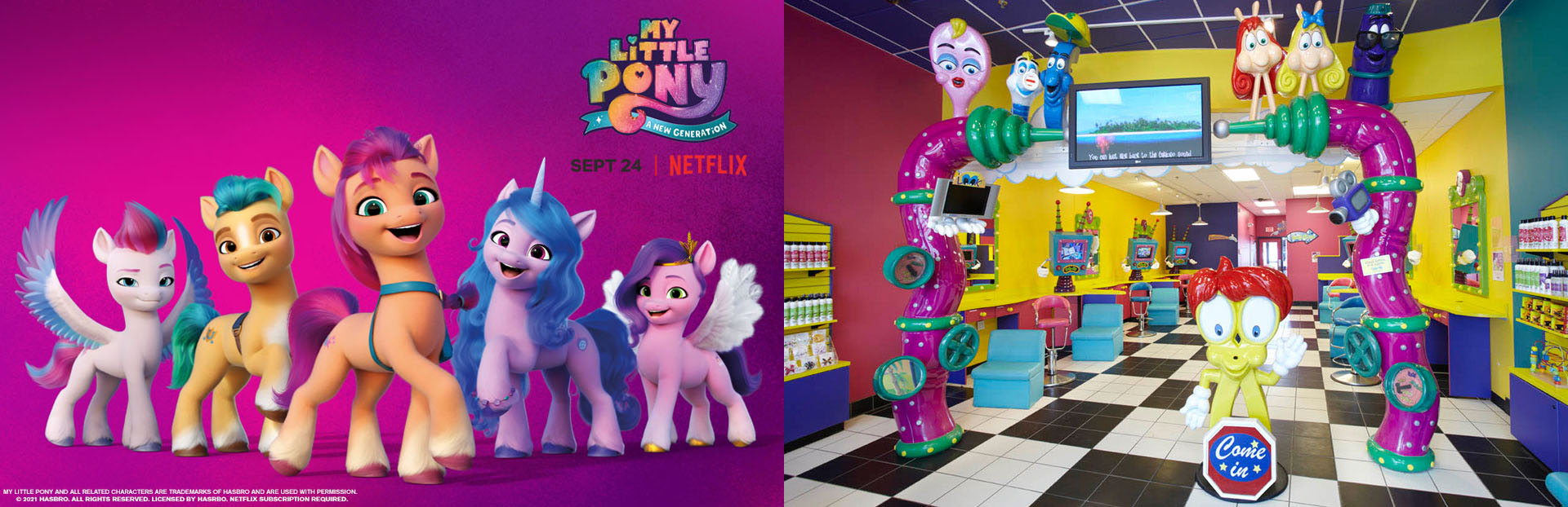 My Little Pony Mane 5 with background next to Snip-its Haircuts for Kids original look salon